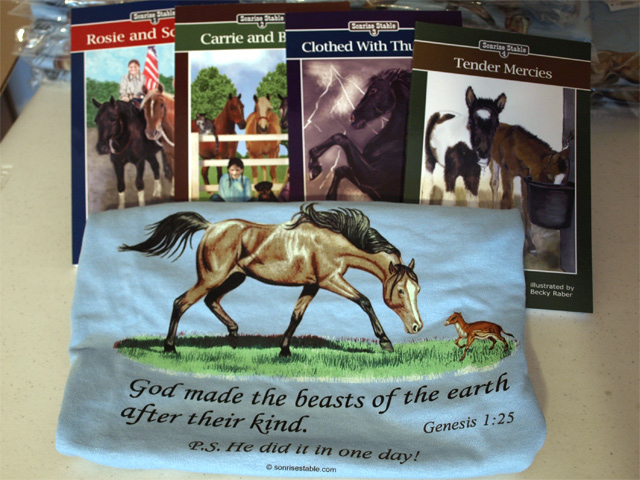 Sonrise Stables books and t-shirt