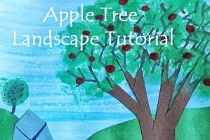 September Apple Tree Art Project Tutorial