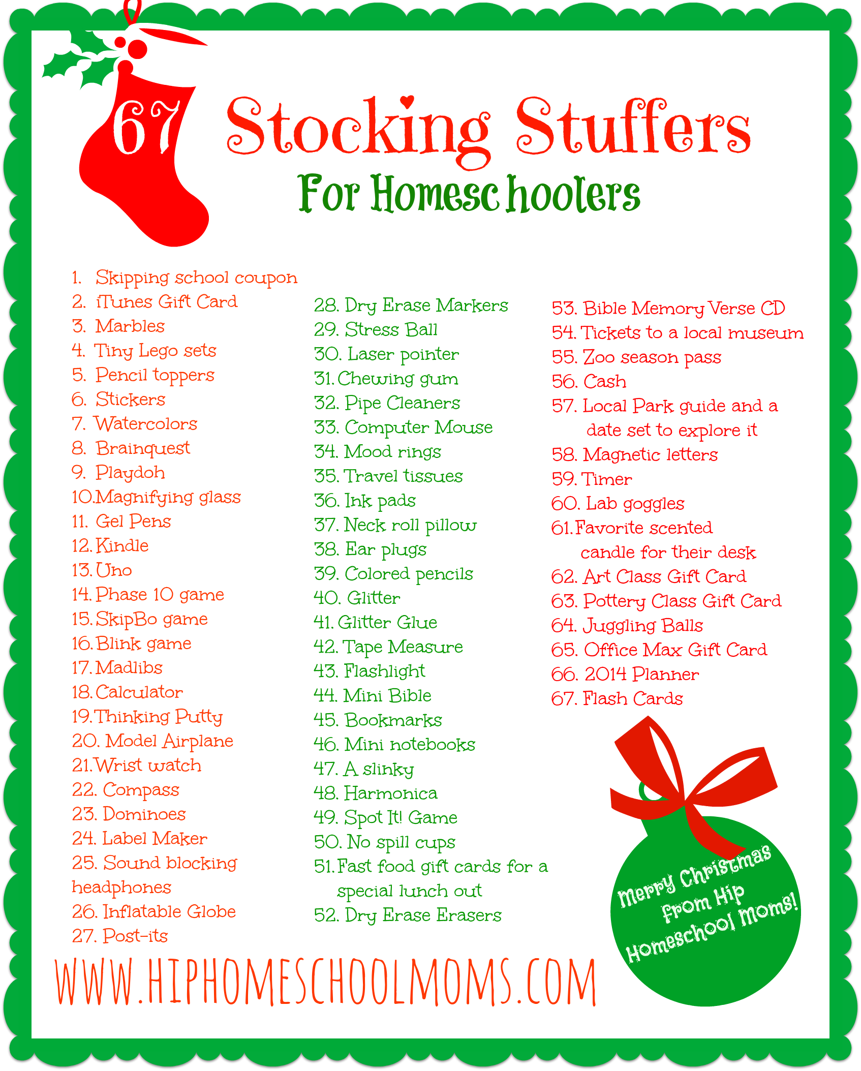 Printable homeschool stocking stuffer ideas hip Unique stocking stuffers adults