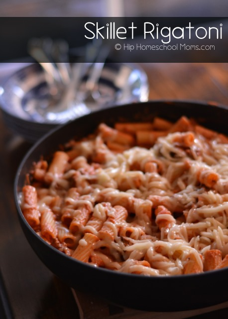 Skillet Rigatoni – pasta bathed in creamy sauce and topped with ...