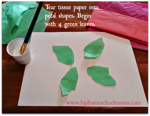 First step for making tissue paper painted poinsettias is to tear petal shaped tissue leaves from green tissue paper.| Hip Homeschool Moms
