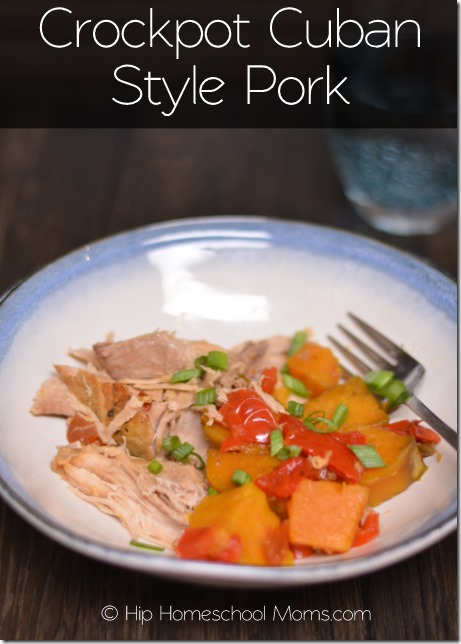 Crockpot Cuban Style Pork with sweet potatoes and peppers.