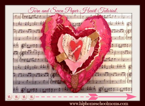 Torn & Sewn Paper Hearts Valentine Tutorial