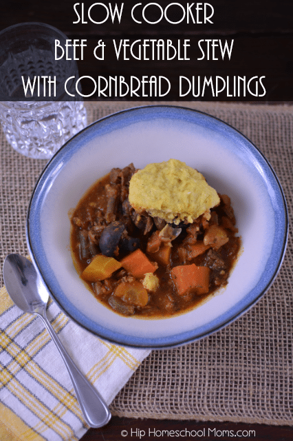 Rich beef and vegetable stew topped with hearty cornbread dumplings ...