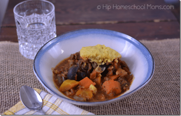 Beef and Vegetable Stew with Cornbread Dumplings