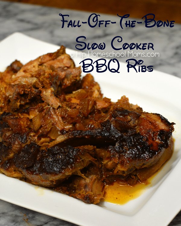 Fall-Off-The-Bone Slow Cooker BBQ Ribs from Hip Homeschool Moms