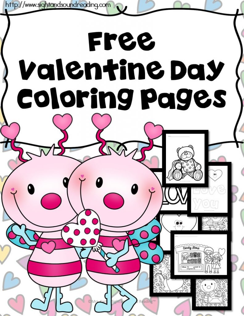 Valentine coloring pages school family