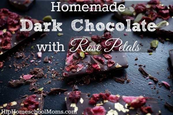 Homemade Dark Chocolate with Rose Petals