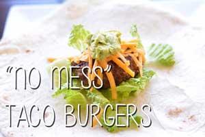"""No Mess"" Taco Burgers"