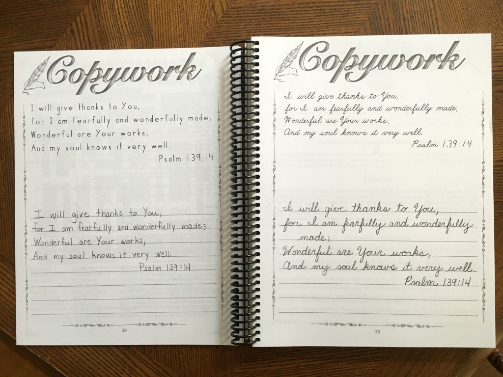Copywork is provided for both students who use manuscript and those who use cursive writing.