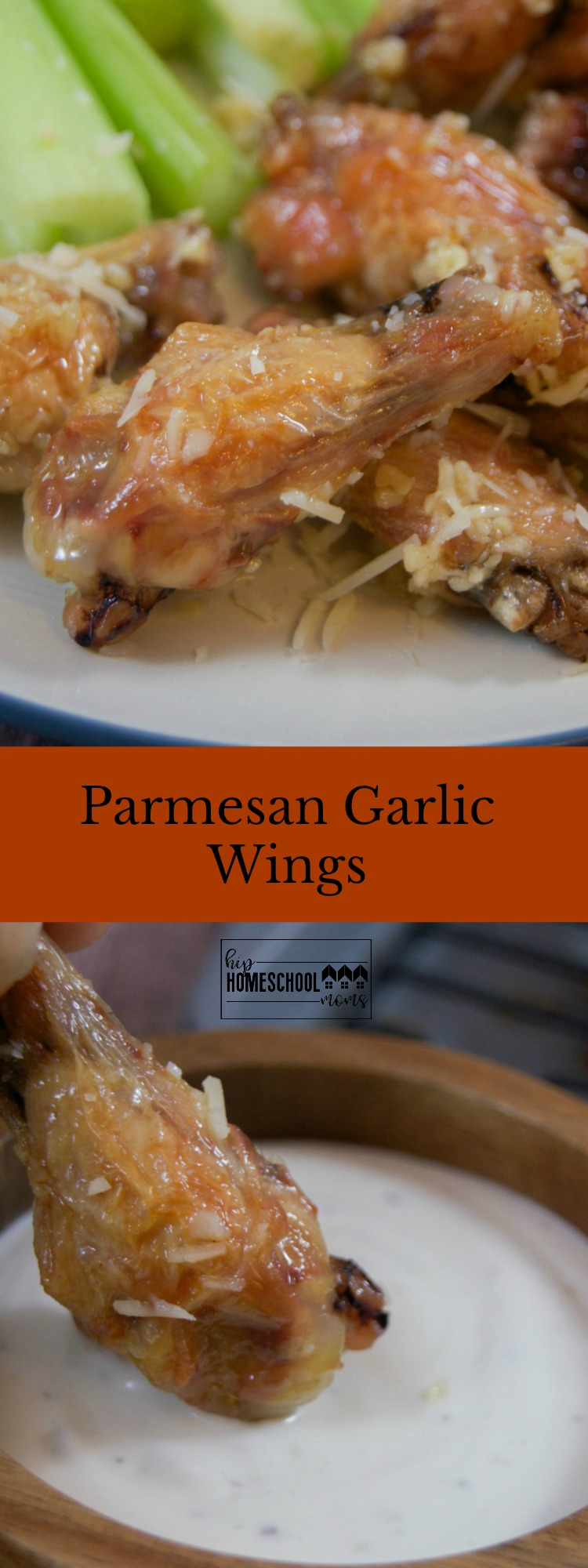 Picture and recipe for Parmesan Garlic Wings |Hip Homeschool Moms