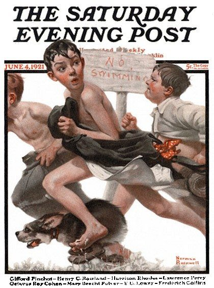 Norman Rockwell's No Swimming, the cover for The Saturday Evening Post, published 4-Jun-1921