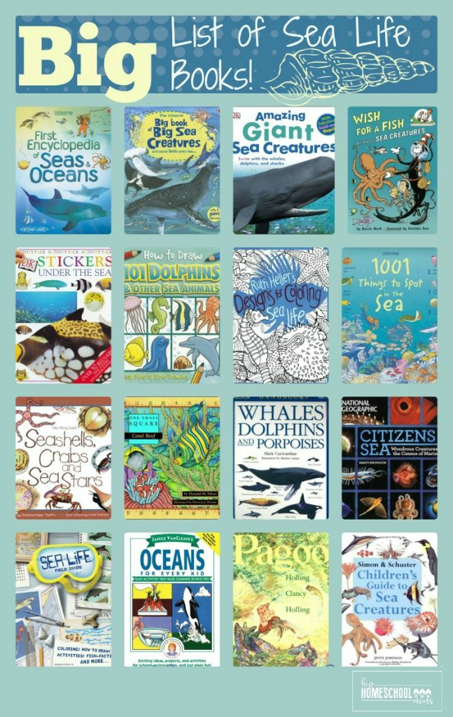 This big list of sea life books is perfect for a unit study or year-long study of sea life! |Hip Homeschool Moms