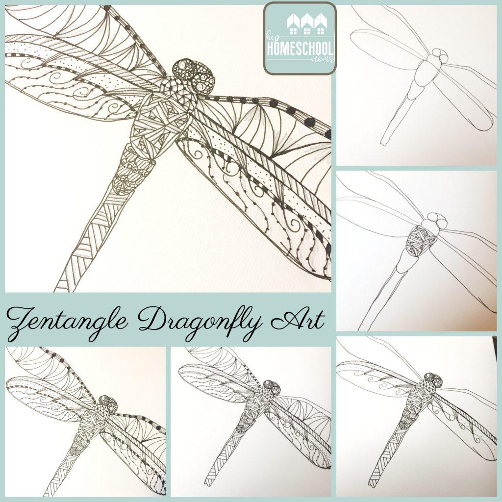 Zentangle Dragonfly Art Project | Hip Homeschool Moms
