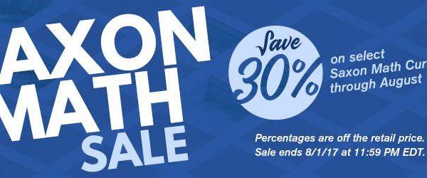 DEAL ALERT: Saxon Math – 30% off!