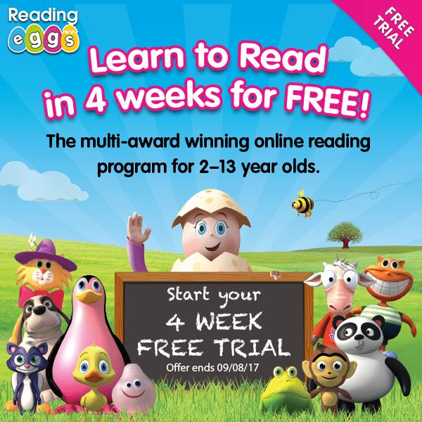 Free 4-week trial of Reading Eggs from Hip Homeschool Moms!