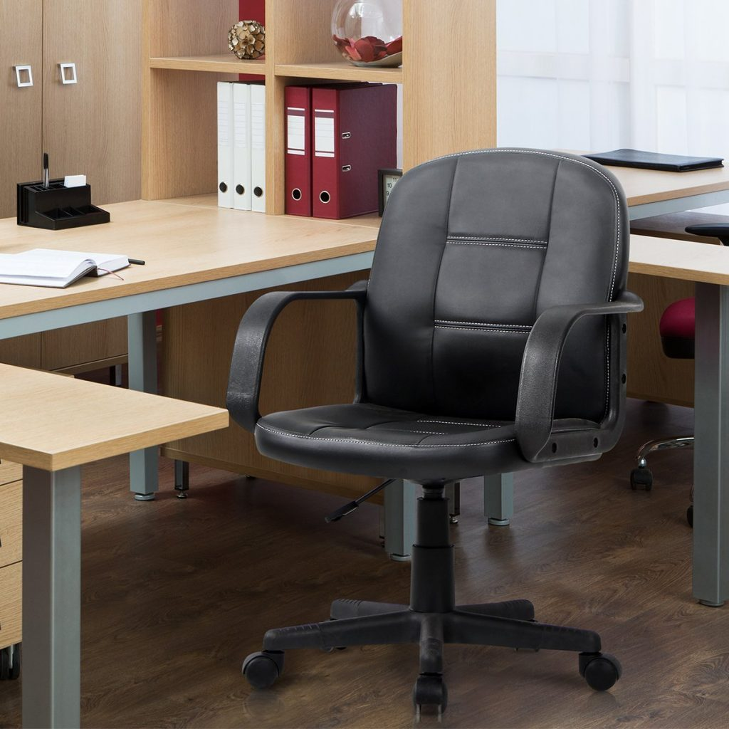 Luxury VIVA OFFICE Ergonomic Mid Back Office Chair Bonded Leather Computer Task Chair Number of stars out of